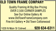 Print Ad of Old Town Frame Company