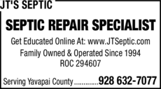 Yellow Pages Ad of Jt's Septic