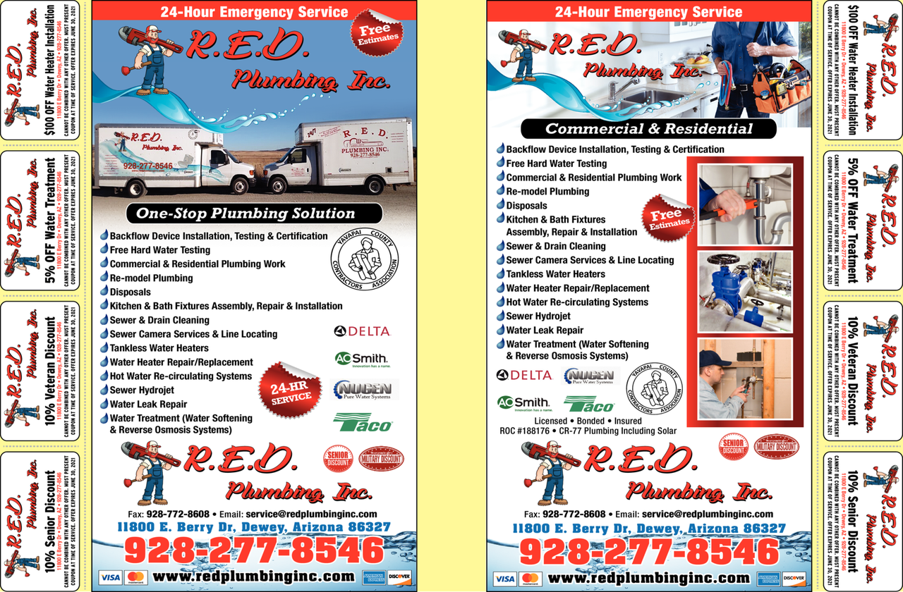 Yellow Pages Ad of R E D Plumbing Inc