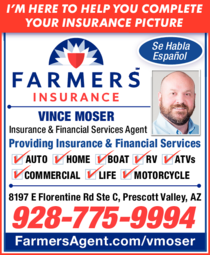 Yellow Pages Ad of Farmers Insurance - Vince Moser